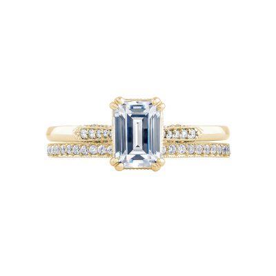 Tacori 2651EC7X5-Y Yellow Gold Emerald Cut Simple Engagement Ring set