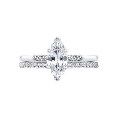 Tacori 2651MQ White Gold Marquise Art Deco Engagement Ring set