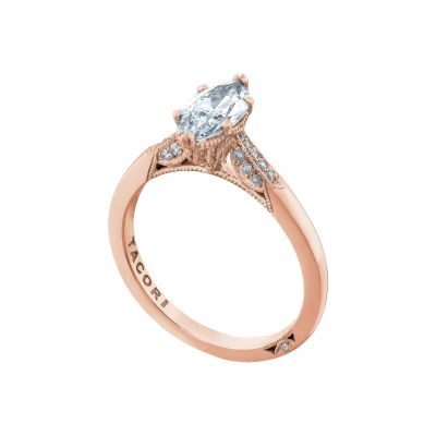 Tacori 2651MQ10X5-PK Rose Gold Marquise Unique Engagement Ring angle