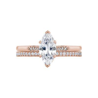 Tacori 2651MQ10X5-PK Rose Gold Marquise Unique Engagement Ring set