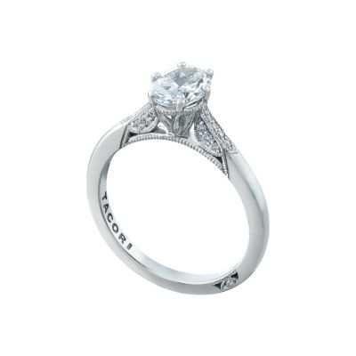 Tacori 2651OV White Gold Oval Simple Engagement Ring angle