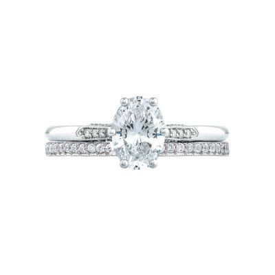 Tacori 2651OV White Gold Oval Simple Engagement Ring set