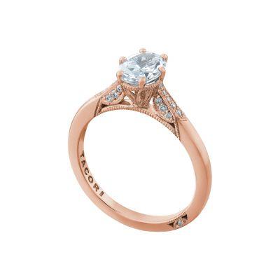 Tacori 2651OV75X55-PK Rose Gold Oval Elegant Engagement Ring angle