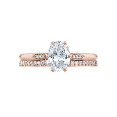 Tacori 2651OV75X55-PK Rose Gold Oval Elegant Engagement Ring set