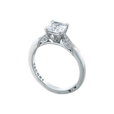 Tacori 2651PR White Gold Princess Cut Simple Engagement Ring angle