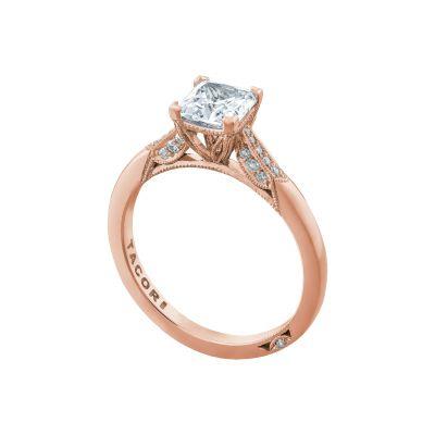 Tacori 2651PR55-PK Rose Gold Princess Cut Simple Engagement Ring angle