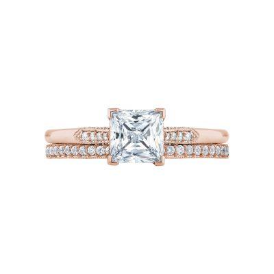 Tacori 2651PR55-PK Rose Gold Princess Cut Simple Engagement Ring set
