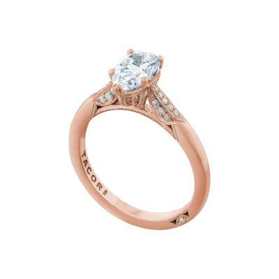 Tacori 2651PS85X55-PK Rose Gold Pear Shaped Elegant Engagement Ring angle