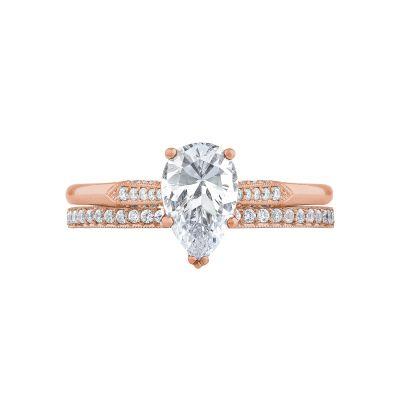 Tacori 2651PS85X55-PK Rose Gold Pear Shaped Elegant Engagement Ring set