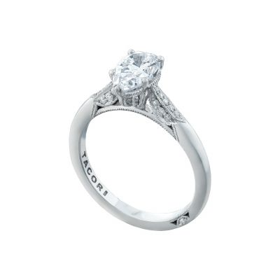 Tacori 2651PS85X55-W White Gold Pear Shaped Classic Engagement Ring angle