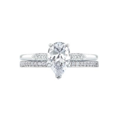 Tacori 2651PS85X55-W White Gold Pear Shaped Classic Engagement Ring set