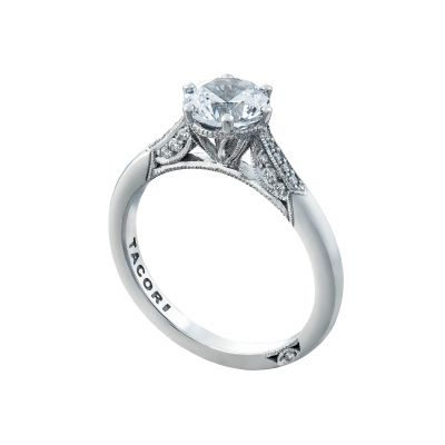 Tacori 2651RD White Gold Round Simple Engagement Ring angle