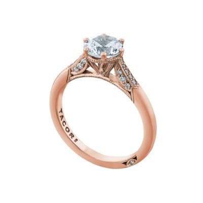 Tacori 2651RD65-PK Rose Gold Round Classic Engagement Ring angle