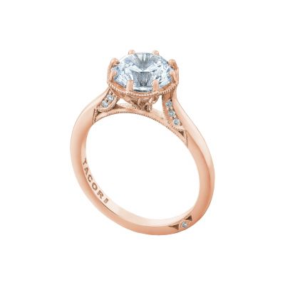 Tacori 2652RD8-PK Rose Gold Round Solitaire Engagement Ring angle