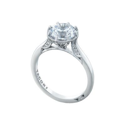 Tacori 2652RD8 Platinum Round Solitaire Engagement Ring angle