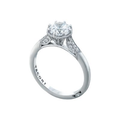Tacori 2653RD White Gold Round Vintage Style Engagement Ring angle