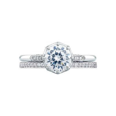 Tacori 2653RD White Gold Round Vintage Style Engagement Ring set