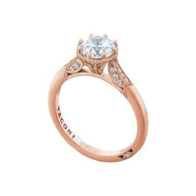 Tacori 2653RD65-PK Rose Gold Round Simple Engagement Ring angle