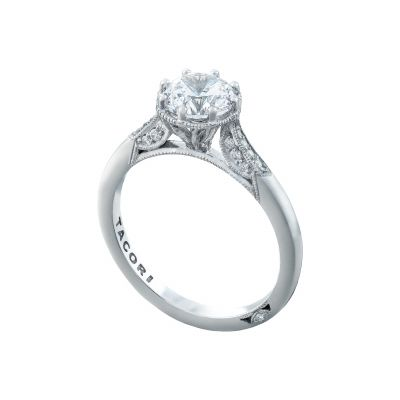 Tacori 2653RD65 Platinum Round Vintage Engagement Ring angle