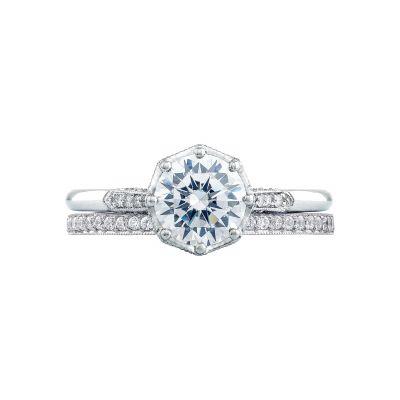 Tacori 2653RD65 Platinum Round Vintage Engagement Ring set