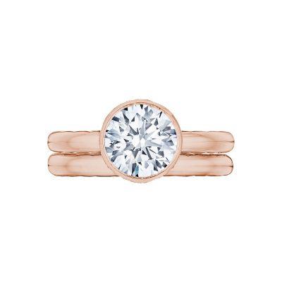 Tacori 300-25RD-8PK Rose Gold Round Elegant Style Engagement Ring set