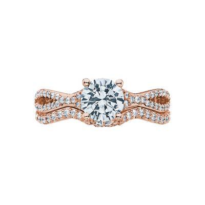 Tacori 3004-PK Rose Gold Round Twist Engagement Ring set