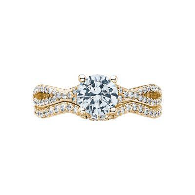 Tacori 3004-Y Yellow Gold Round Simple Twist Engagement Ring set