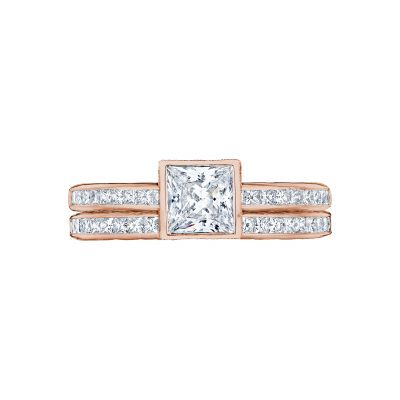 Tacori 301-25PR-5PK Rose Gold Princess Cut Elegant Style Engagement Ring set