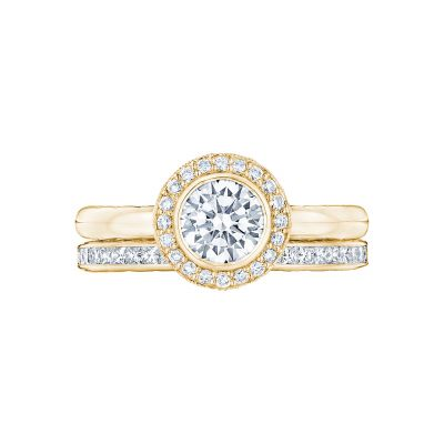 Tacori 303-25RD-625Y Yellow Gold Round Simple Halo Engagement Ring set