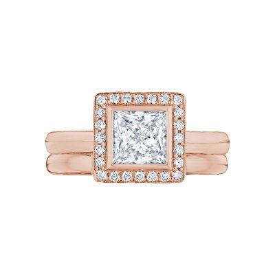 Tacori 304-25PR-5PK Rose Gold Princess Cut Pretty Halo Engagement Ring set