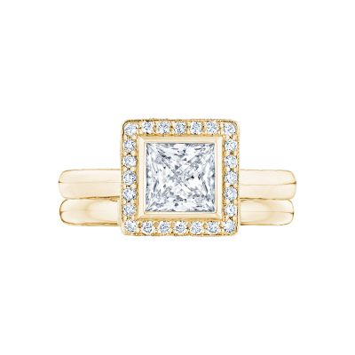 Tacori 304-25PR-5Y Yellow Gold Princess Cut Beautiful Halo Engagement Ring set