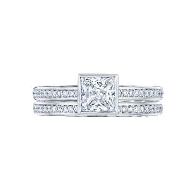 Tacori 305-25PR-5 Platinum Princess Cut Art Deco Engagement Ring set