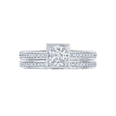 Tacori 305-25PR White Gold Princess Cut Unique Engagement Ring set
