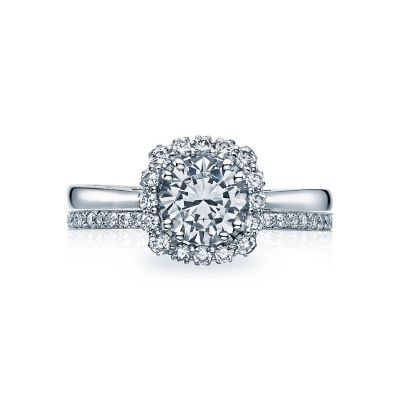Tacori 55-2CU65 Platinum Round Beautiful Halo Engagement Ring set