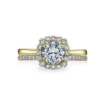Tacori 55-2CU65-Y Yellow Gold Round Modern Halo Engagement Ring set