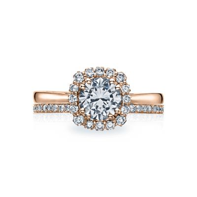 Tacori 55-2CU65PK Rose Gold Round Silitaire Halo Engagement Ring set