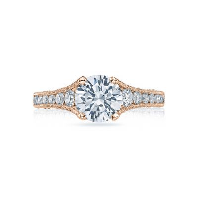Tacori HT251012X-PK Reverse Crescent Rose Gold Round Engagement Ring