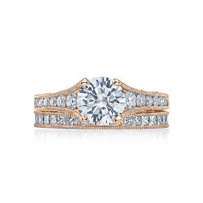 Tacori HT251012X-PK Rose Gold Round Modern Pave Engagement Ring set