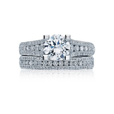 Tacori HT2513RD White Gold Round Modern Engagement Ring set