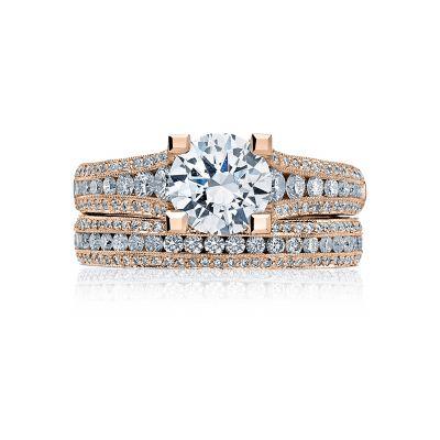 Tacori HT2513RD7512X-PK Rose Gold Round Elegant Style Engagement Ring set