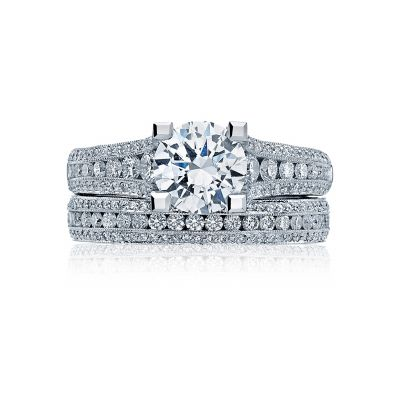Tacori HT2513RD7512X Platinum Round Modern Style Engagement Ring set
