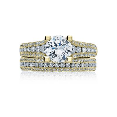 Tacori HT2513RD7512X-Y Yellow Gold Round Modern Engagement Ring set