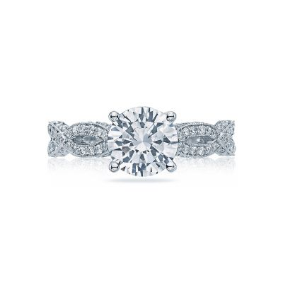 Tacori HT2528RD Ribbon White Gold Round Engagement Ring