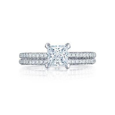 Tacori HT254515PR White Gold Princess Cut Simple Pave Engagement Ring set