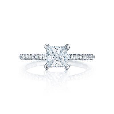 Tacori HT254515PR55 Petite Crescent Platinum Princess Cut Engagement Ring