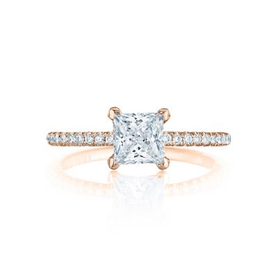 Tacori HT254515PR55-PK Petite Crescent Rose Gold Princess Cut Engagement Ring