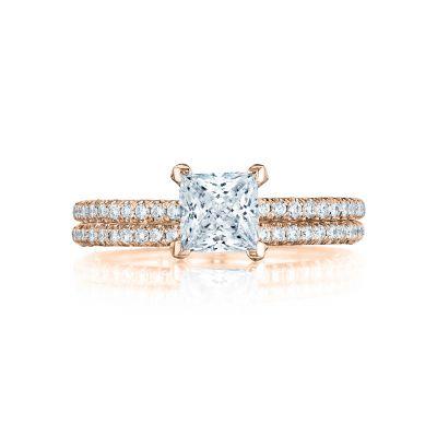 Tacori HT254515PR55-PK Rose Gold Princess Cut Elegant Engagement Ring set