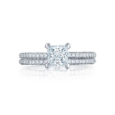 Tacori HT254515PR55 Platinum Princess Cut Simple Classic Engagement Ring set