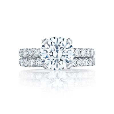 Tacori HT254525RD White Gold Round Simple Pave Engagement Ring set