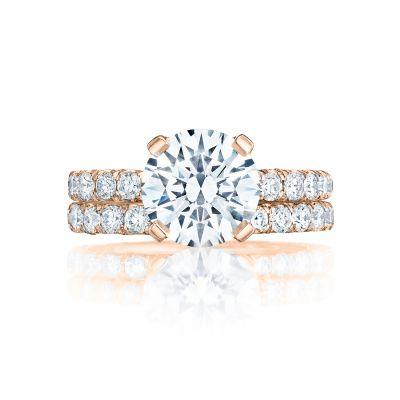 Tacori HT254525RD9-PK Rose Gold Round Elegant Pave Engagement Ring set